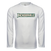 Syntrel Performance White Longsleeve Shirt-Jacksonville Word Mark