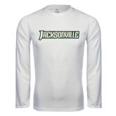Performance White Longsleeve Shirt-Jacksonville Word Mark
