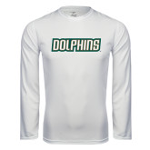 Syntrel Performance White Longsleeve Shirt-Dolphins Word Mark