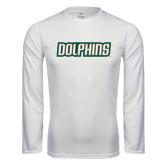 Performance White Longsleeve Shirt-Dolphins Word Mark