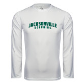 Performance White Longsleeve Shirt-Jacksonville Dolphins Arched