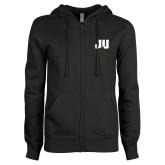 ENZA Ladies Black Fleece Full Zip Hoodie-JU