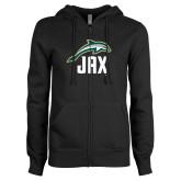 ENZA Ladies Black Fleece Full Zip Hoodie-Dolphin JAX