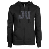 ENZA Ladies Black Fleece Full Zip Hoodie-JU Graphite Soft Glitter