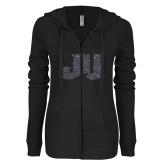 ENZA Ladies Black Light Weight Fleece Full Zip Hoodie-JU Graphite Soft Glitter