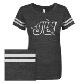 ENZA Ladies Black/White Vintage Triblend Football Tee-Official Logo White Soft Glitter