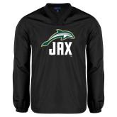 V Neck Black Raglan Windshirt-Dolphin JAX