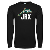 Black Long Sleeve T Shirt-Dolphin JAX
