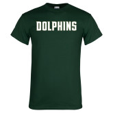 Dark Green T Shirt-Dolphins Wordmark