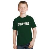 Youth Dark Green T Shirt-Dolphins Wordmark