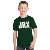 Youth Dark Green T Shirt-JAX Wordmark