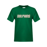 Youth Dark Green T Shirt-Dolphins Word Mark