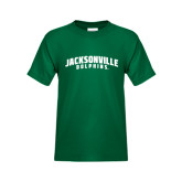 Youth Dark Green T Shirt-Jacksonville Dolphins Arched