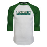 White/Dark Green Raglan Baseball T-Shirt-Jacksonville Dolphins Word Mark