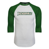 White/Dark Green Raglan Baseball T-Shirt-Jacksonville Word Mark