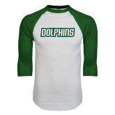 White/Dark Green Raglan Baseball T-Shirt-Dolphins Word Mark