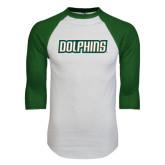 White/Dark Green Raglan Baseball T-Shirt-Dolphins Word Mark