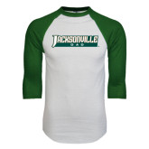 White/Dark Green Raglan Baseball T-Shirt-Dad