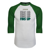 White/Dark Green Raglan Baseball T-Shirt-Fins Up