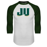 White/Dark Green Raglan Baseball T Shirt-JU
