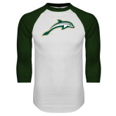 White/Dark Green Raglan Baseball T Shirt-Dolphin