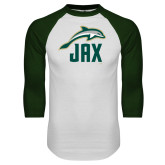 White/Dark Green Raglan Baseball T Shirt-Dolphin JAX