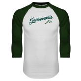 White/Dark Green Raglan Baseball T Shirt-Script Jacksonville