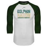 White/Dark Green Raglan Baseball T Shirt-Dolphin Nation