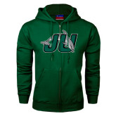 Dark Green Fleece Full Zip Hood-Official Logo