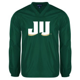 V Neck Dark Green Raglan Windshirt-JU