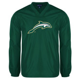 V Neck Dark Green Raglan Windshirt-Dolphin