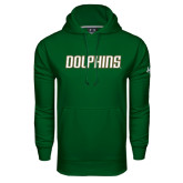 Under Armour Dark Green Performance Sweats Team Hood-Dolphins Word Mark
