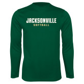 Performance Dark Green Longsleeve Shirt-Softball