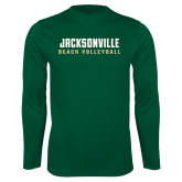 Performance Dark Green Longsleeve Shirt-Beach Volleyball