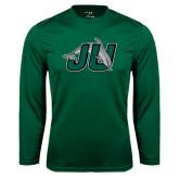 Performance Dark Green Longsleeve Shirt-Official Logo