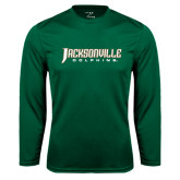 Performance Dark Green Longsleeve Shirt-Jacksonville Dolphins Word Mark