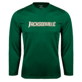 Syntrel Performance Dark Green Longsleeve Shirt-Jacksonville Word Mark
