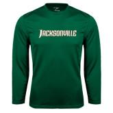 Performance Dark Green Longsleeve Shirt-Jacksonville Word Mark