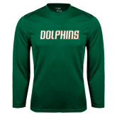 Performance Dark Green Longsleeve Shirt-Dolphins Word Mark