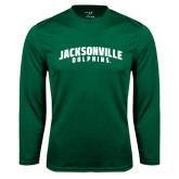 Performance Dark Green Longsleeve Shirt-Jacksonville Dolphins Arched