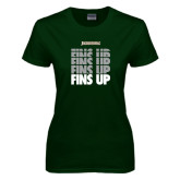 Ladies Dark Green T Shirt-Fins Up