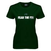 Ladies Dark Green T Shirt-Fear the Fin