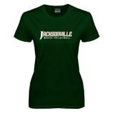 Ladies Dark Green T Shirt-Beach Volleyball