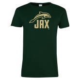 Ladies Dark Green T Shirt-Dolphin JAX