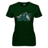 Ladies Dark Green T Shirt-Official Logo