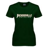 Ladies Dark Green T Shirt-Jacksonville Dolphins Word Mark