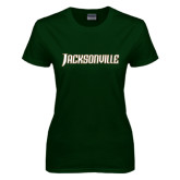 Ladies Dark Green T Shirt-Jacksonville Word Mark