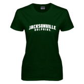 Ladies Dark Green T Shirt-Jacksonville Dolphins Arched