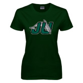 Ladies Dark Green T Shirt-Official Logo Distressed