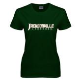 Ladies Dark Green T Shirt-Lacrosse